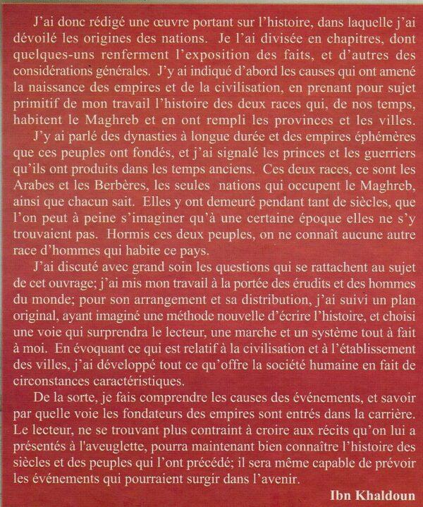 Prolégomènes d'Ibn Khaldoun (A sa philosophie de l'histoire)- مقدمة ابن خلدون-1689