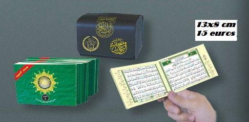 Pochette contenant l'intégralité du Saint Coran en 30 livrets avec règles de Tajwid ( lecture hafs ) 13x8 cm-0