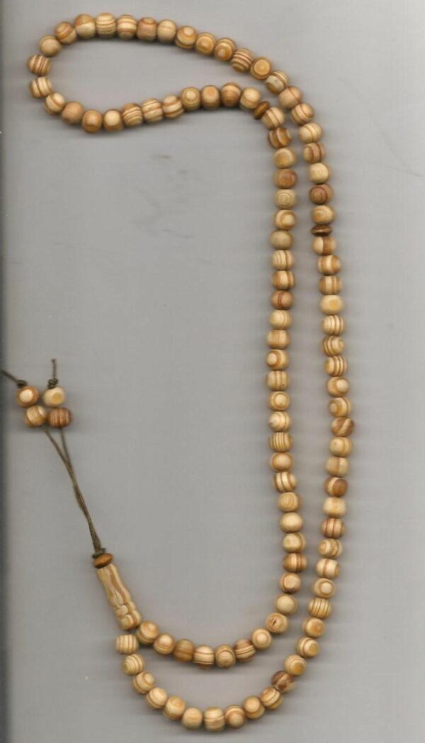 Chapelet 99 perles en bois naturel-0