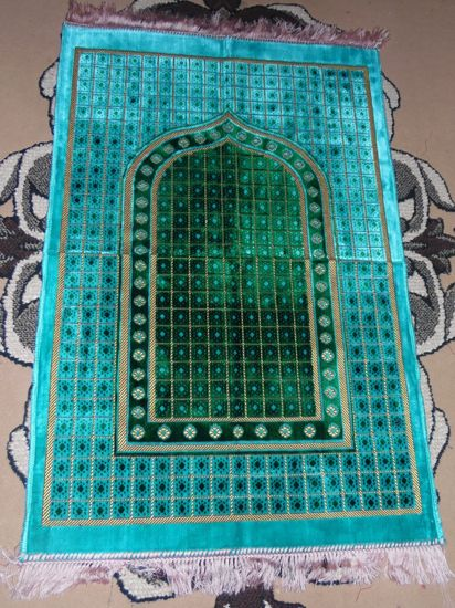 Tapis de priere velours - Turquoise, vert --7914