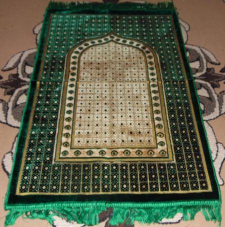 Tapis de priere velours - vert --7911