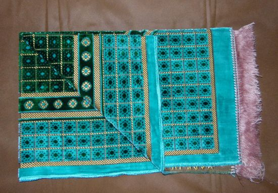 Tapis de priere velours - Turquoise, vert --0