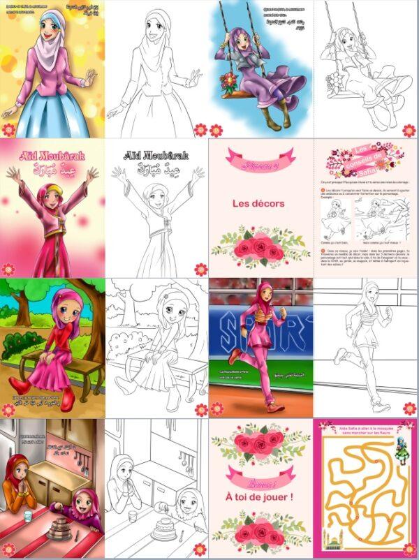 J'apprends le Coloriage - Pour les petites musulmanes (Bilingue français - arabe)-8531
