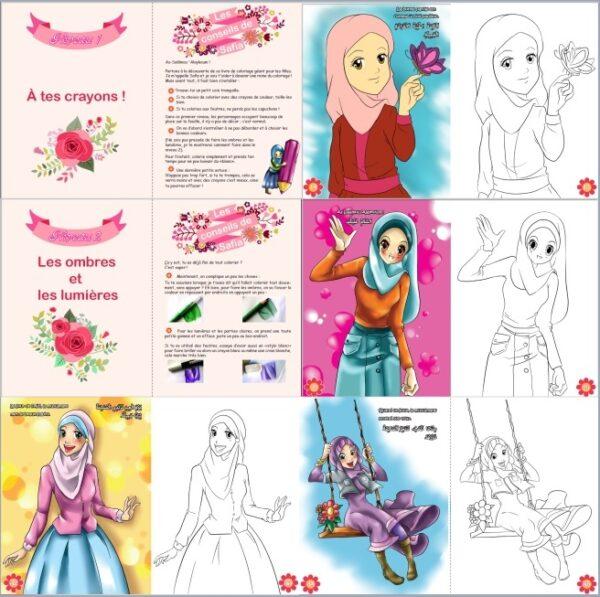 J'apprends le Coloriage - Pour les petites musulmanes (Bilingue français - arabe)-8530