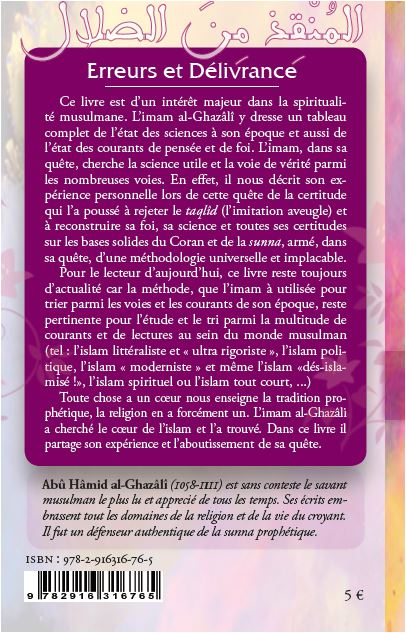 Erreurs et Délivrance -Le choix de la voie spirituelle en islam--8962