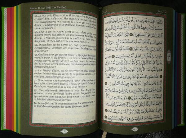 Le Coran arabe - français (avec couleurs arc-en-ciel) ROSE pâle-8987