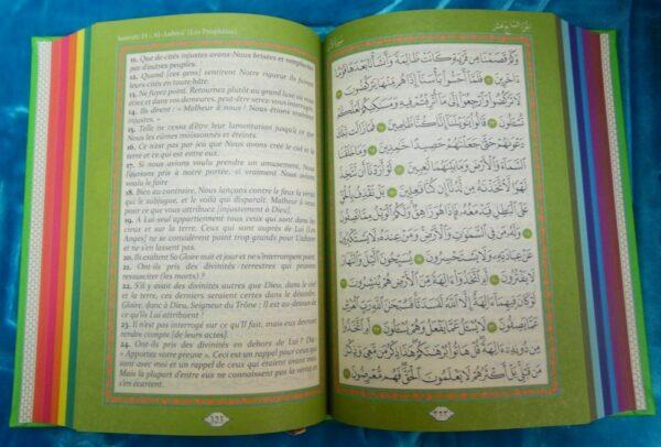Le Coran arabe/français (avec couleurs arc-en-ciel) VERT TURQUOISE-9025