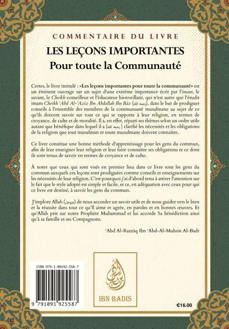 Commentaire du livre : Les leçons importantes pour toute la communauté-9444