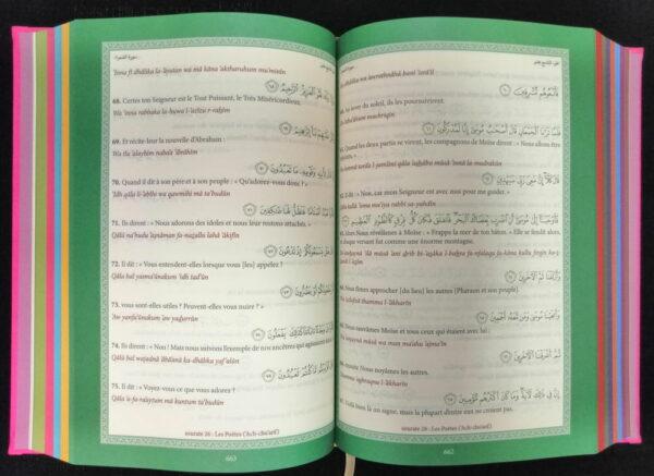 Le Noble Coran Français-Arabe-Phonétique VERT TURQUOISE (ARC-EN-CIEL)-9525