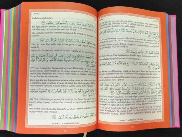 Le Noble Coran Français-Arabe-Phonétique VERT TURQUOISE (ARC-EN-CIEL)-9526